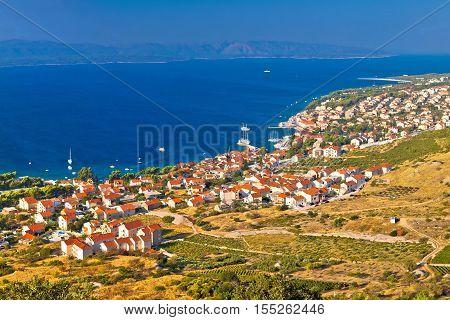 Bol and Zlatni Rat beach on Brac island panoramic aerial view Dalmatia Croatia