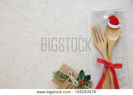 Christmas Table Place Setting, Holidays Copy Space Background