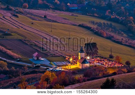 Idyllic church and graveyard evening view from above Prigorje region of Croatia