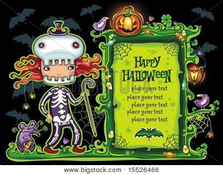 Halloween frame with cute girl dressed as a skeleton. with cane in her hand. with place for your text.