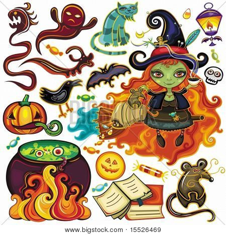 Big collection of Halloween objects, icons, design elements