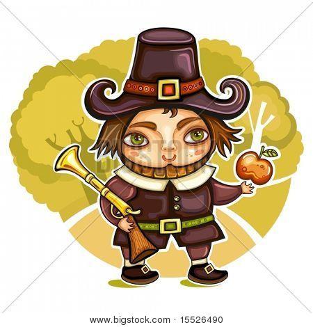 Thanksgiving happy cartoon pilgrim man with blunderbuss. Thanksgiving series 2