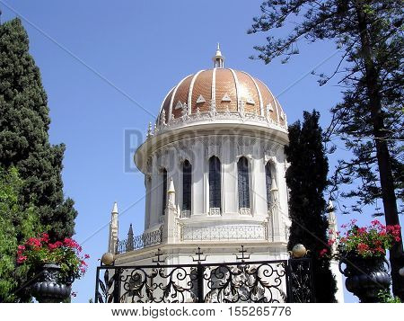 The Golden dome of the Shrine of Bab in Bahai Gardens in Haifa Israel