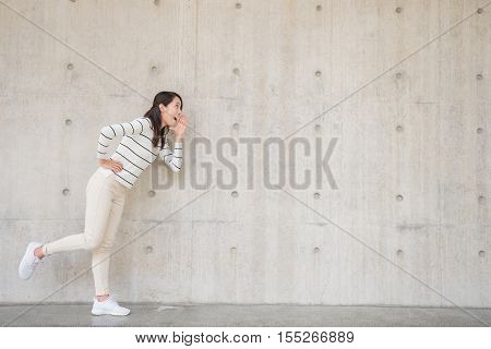 beauty woman with white wall in hongkong