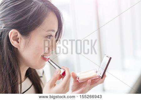beauty woman make up and smile happily in hongkong