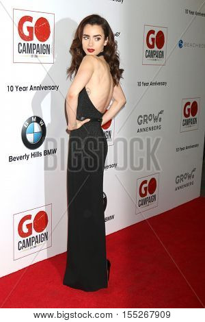 LOS ANGELES - NOV 5:  Lily Collins at the 10th Annual GO Campaign Gala at the Manuela at Hauser Wirth & Schimmel on November 5, 2016 in Los Angeles, CA
