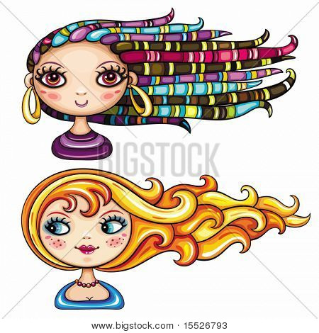 2 cool hair styles on beautiful girls: Exotic beautiful girl with colorful dreadlocks, braids and ethnic jewelry. Blue-eyed beauty with blonde and red playful hair. pretty ladies isolated on white