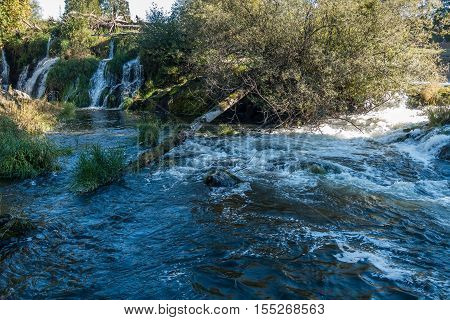 A view of the Deschutes River with whitewater and waterfalls.