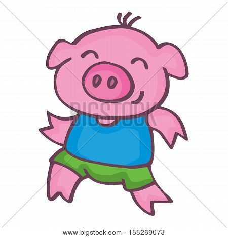 Running pig cartoon design kids vetcor illustration