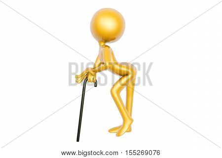 golden guy dance with stick isolated on white background 3d illustration