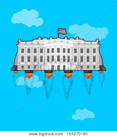 White houseFlying with rocket turbo. USA President Residence in space. American National Palace flies. Government building connected to future