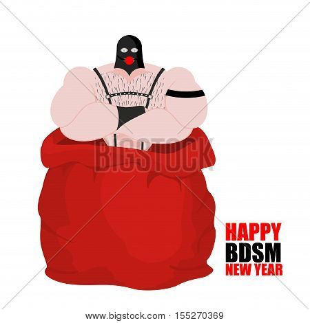 Sex slave in red sack of Santa Claus. BDSM Happy New Year. Adult gift for host. Sadist and masochist. Big bag for Christmas. Male for sex games. Humble servant of his master