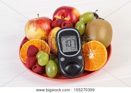 Glucometer And Fresh Fruits On Plate, Diabetes And Healthy Nutrition