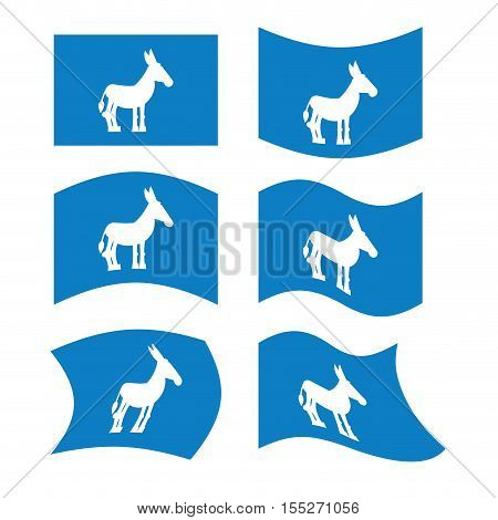 Donkey Flag. Democrat National flag of presidential election in America.