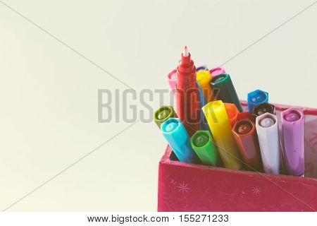 Multicolored Of Magic Colors (colours) For Paint Or Draw On Paper With Copy Space And Vintage Color