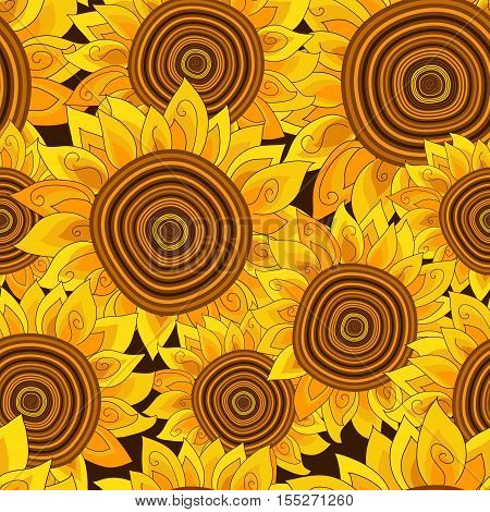 Vivid seamless pattern with golden sunflowers. Vector