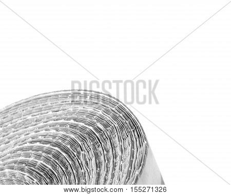 Heap of folded old newspapers on white background