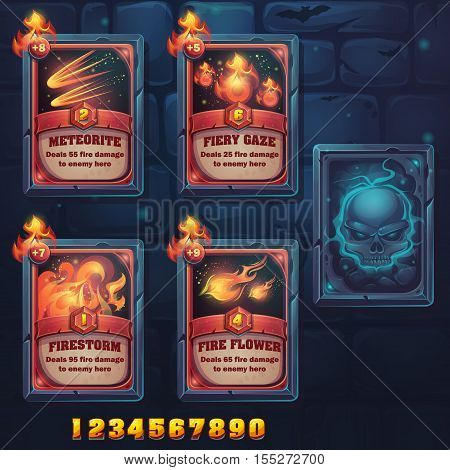 Set spell cards of meteorite fiery gaze firestorm fire flowes. For web video games user interface design