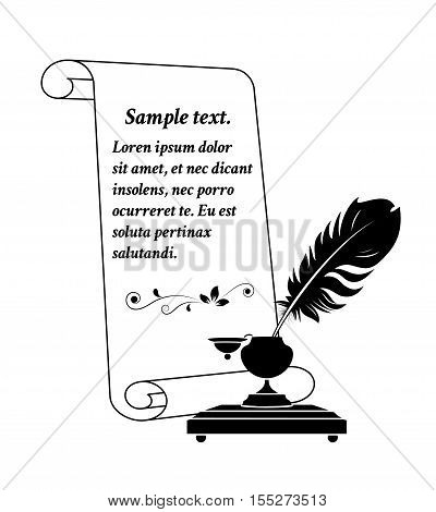 Scroll paper with a feather in antique inkwell. Vector illustration.