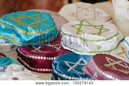 Lot of traditional jewish headwears ( Kippah ) for sale