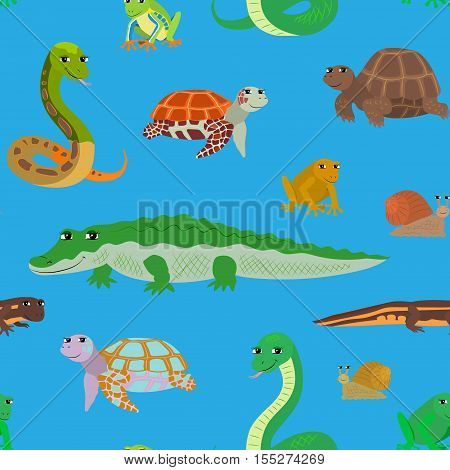 Seamless pattern with cartoon animals. Sea endless blue background with crocodile snake turtle frog newt. Vector illustration.