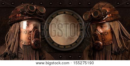 Post-apocalyptic futuristic concept. Fantasy. Steampunk. Cyberpunk.