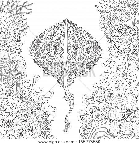 Zendoodle design of stingray swimming among beautiful coral under water world for adult coloring book pages - Stock Vector