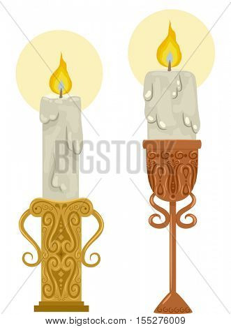 Illustration Featuring Candle Holders with Intricate Carvings Holding Melting Candles
