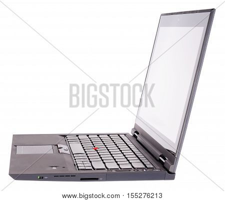 Open laptop (notebook) side isometric view isolated on the white