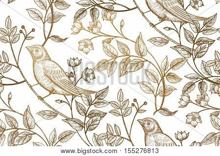 Vintage flowers branches leaves birds. Print gold foil on a white background. Vector seamless pattern. Illustration for fabrics phone case paper gift packaging textiles interior design cover.