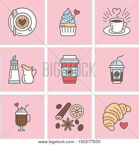 Cute vector line icons of coffee. Elements - espresso cup, milk sugar croissant, hot drinks, cupcake, latte, cinnamon. Linear restaurant, shop pictogram for menu, cartoon illustration