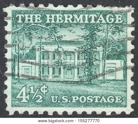 MOSCOW RUSSIA - CIRCA OCTOBER 2016: a post stamp printed in the USA shows the Hermitage the series