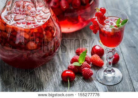 Liqueur Made Of Wild Berries And Mint
