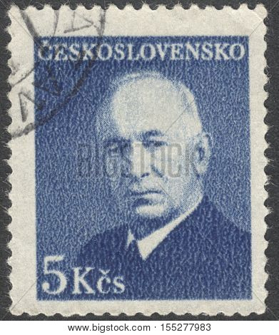 MOSCOW RUSSIA - CIRCA OCTOBER 2016: a stamp printed in CZECHOSLOVAKIA shows a portrait of the President Edvard Benesh circa 1948