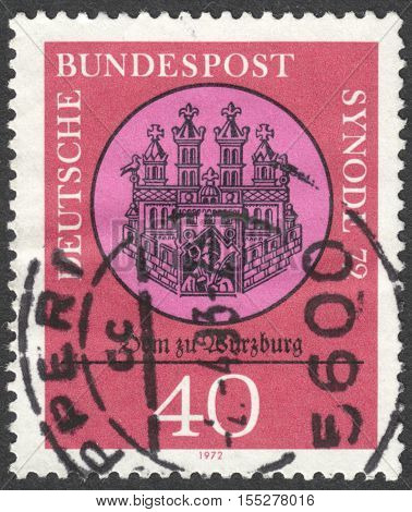 MOSCOW RUSSIA - CIRCA OCTOBER 2016: a post stamp printed in GERMANY dedicated to Synode '72 circa 1972