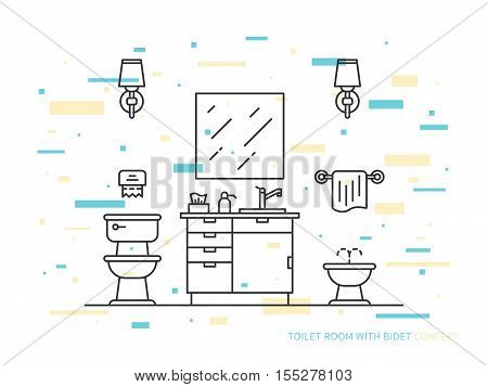 Bathroom with sink bowl bidet vector line art illustration. Line graphic design of bathroom. Creative concept of interior design of bathroom with lights lavatory pan bidet and mirror.