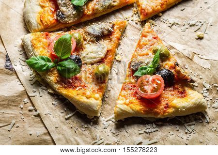 Closeup Of Homemade Pizza With Tomato And Basil