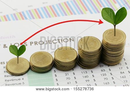 silver coin stack and arrow line and have treetop in business growth concept on paper of report assessed income.
