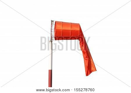 Wind sock of equipment check the wind blow direction isolated on white background and have clipping paths to easy deployment.