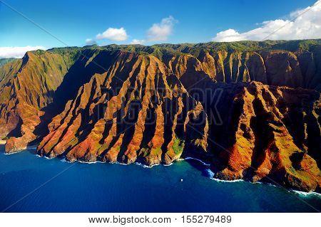 Beautiful Aerial View Of Spectacular Na Pali Coast, Kauai