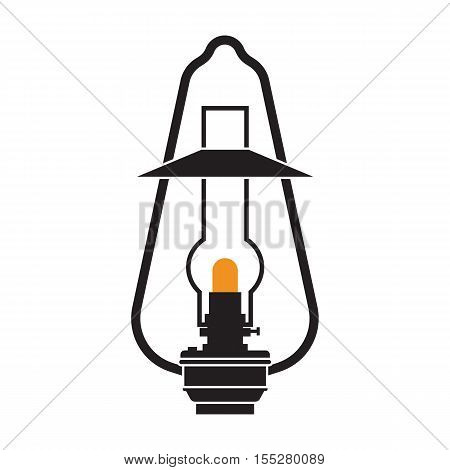 Vintage camping lantern silhouette isolated on white background. Retro gas lamp with glowing light. Oil lantern outline vector illustration. Old lamp for hiking.