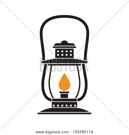 Vintage camping lantern silhouette isolated on white background. Retro gas lamp with glowing fire wick. Oil lantern outline vector illustration. Old lamp for hiking.