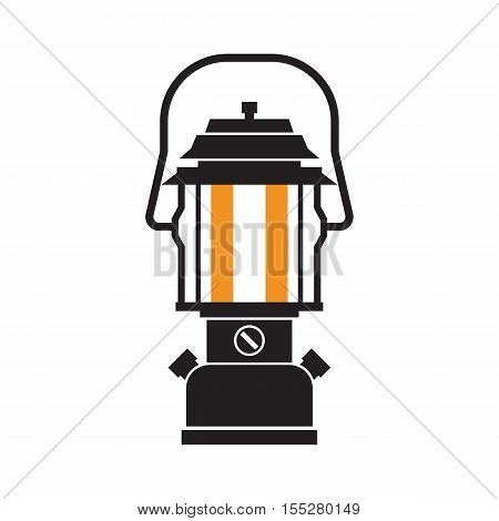 Vintage camping lantern silhouette isolated on white background. Modern lamp with glowing fire wick. Diode tourist lantern outline vector illustration. Old lamp for hiking.