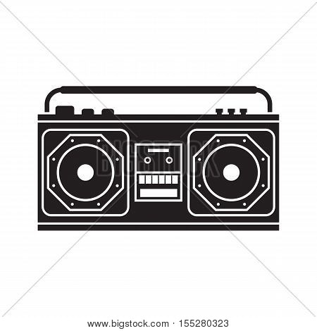 Retro tape recorder outline vector illustration. Vintage cassete record player silhouette isolated on white.