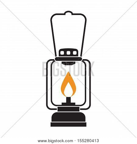 Vintage camping lantern isolated on white background. Retro gas lamp with glowing fire wick. Rustic tourist oil lantern vector illustration.