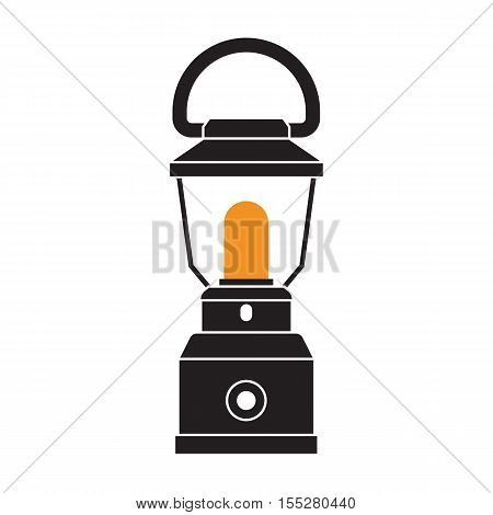 Vintage camping lantern silhouette isolated on white background. Modern lamp with glowing fire wick. Oil lantern outline vector illustration. Old lamp for hiking.