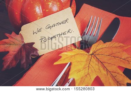 Happy Thanksgiving We Gather Together Table Place Setting