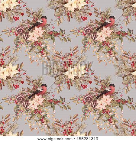 Christmas retro seamless pattern. Bird bullfinch poinsettia flowers with Rowan and Holly branch