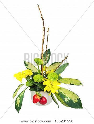 Bouquet from flowers, berries and pussy willows branches in vase isolated on white background.