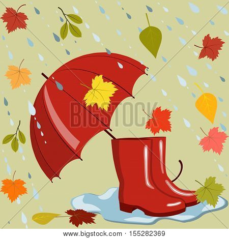Red umbrella, rubber boots in a puddle, flying colorful leaves and rainwater flows, autumn mood, vector illustration